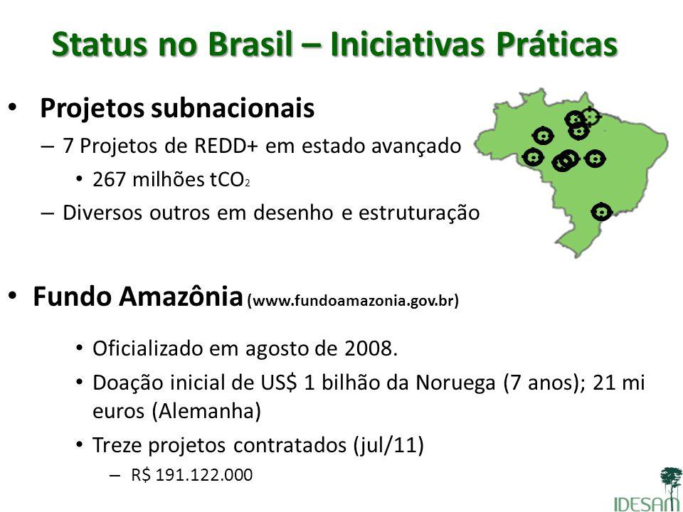 Status no Brasil – Iniciativas Práticas Projetos subnacionais – 7 Projetos de REDD+ em estado avançado 267 milhões tCO 2 – Diversos outros em desenho
