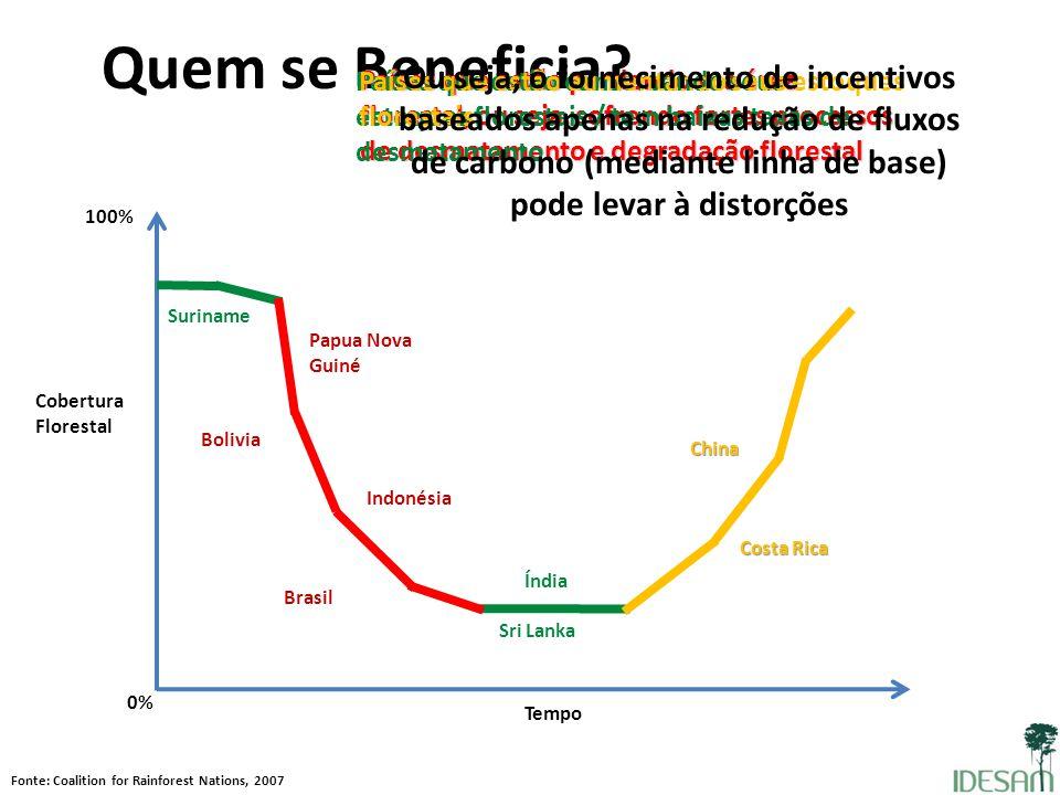 Quem se Beneficia? Cobertura Florestal 100% Tempo Fonte: Coalition for Rainforest Nations, 2007 0% Países que estão perdendo sua área florestal, ou se