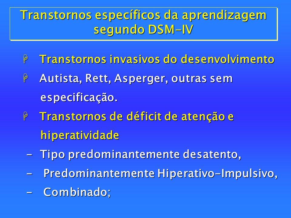 Transtornos da Conduta  Transtornos da Conduta H Transtornos Desafiador de Oposição; H Retardo Mental. Transtornos da Conduta  Transtornos da Condut