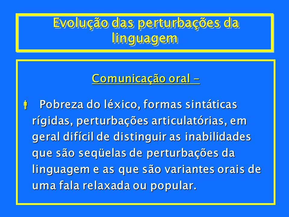 Transtornos da comunicação, incluem:Transtornos da comunicação, incluem: H Da linguagem expressiva; H Misto da linguagem: receptivo- expressiva, fonol