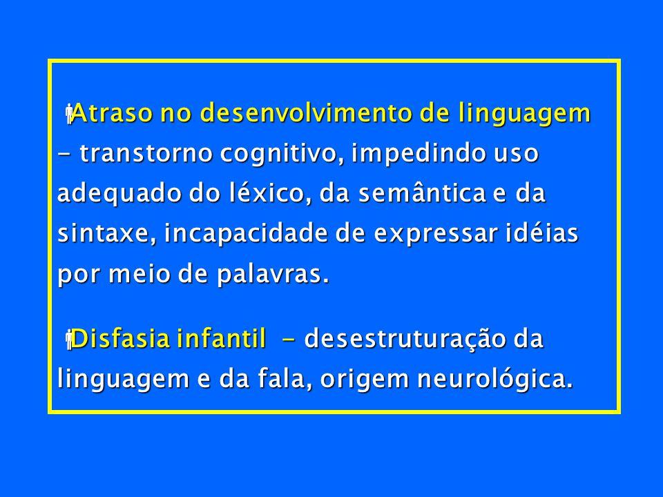 Evolução das perturbações da linguagem Comunicação oral -  Pobreza do léxico, formas sintáticas rígidas, perturbações articulatórias, em geral difíci