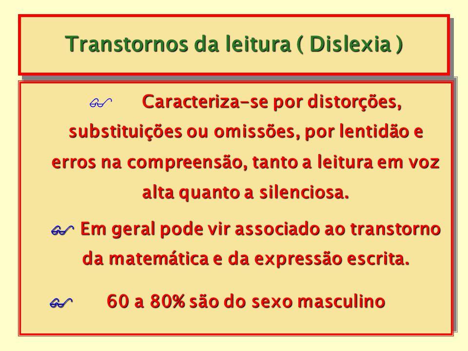 Transtornos da leitura ( Dislexia ) Consiste em um rendimento da leitura (correção, da leitura (correção, velocidade ou compreensão) substancialmente