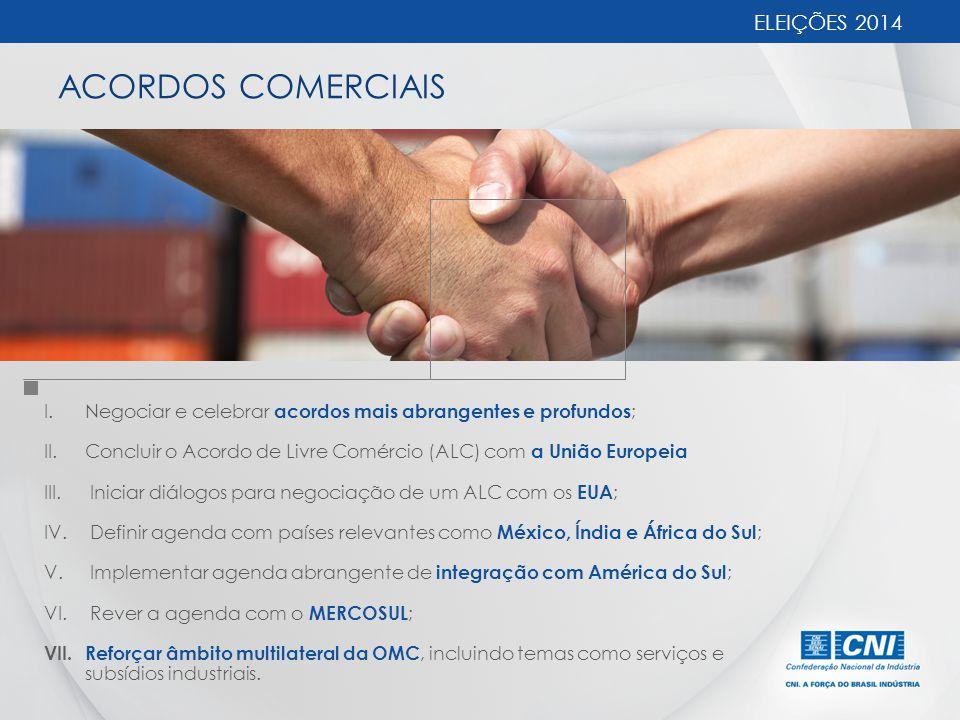 ACORDOS COMERCIAIS ELEIÇÕES 2014 I.Negociar e celebrar acordos mais abrangentes e profundos ; II.Concluir o Acordo de Livre Comércio (ALC) com a União