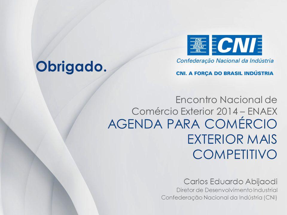 AGENDA PARA COMÉRCIO EXTERIOR MAIS COMPETITIVO Carlos Eduardo Abijaodi Diretor de Desenvolvimento Industrial Confederação Nacional da Indústria (CNI)