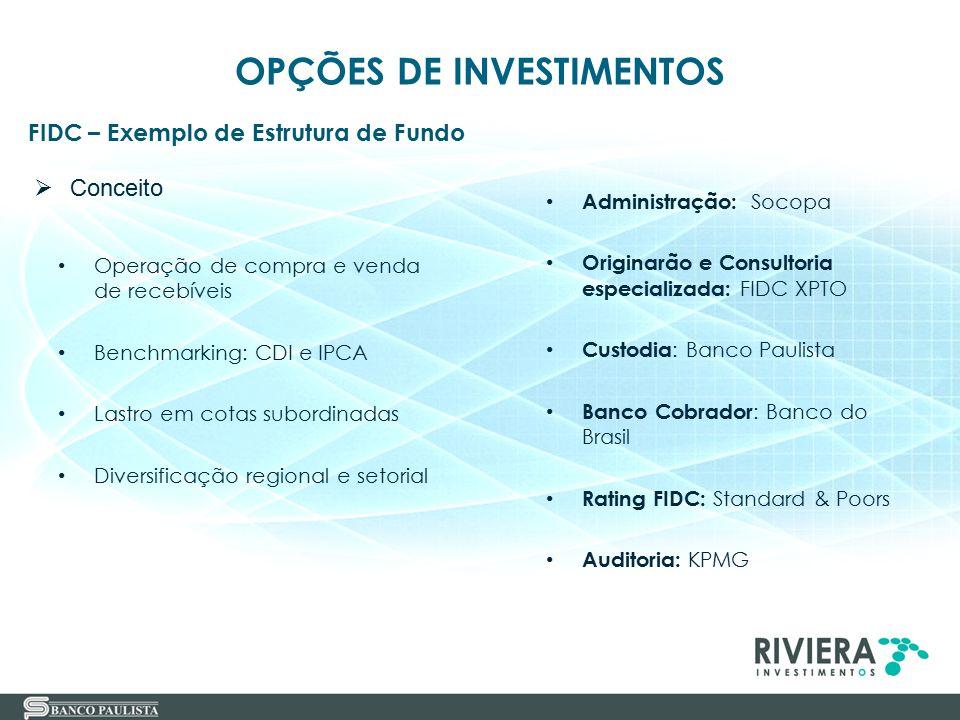 25 FIDC – Exemplo de Estrutura de Fundo OPÇÕES DE INVESTIMENTOS Operação de compra e venda de recebíveis Benchmarking: CDI e IPCA Lastro em cotas subo
