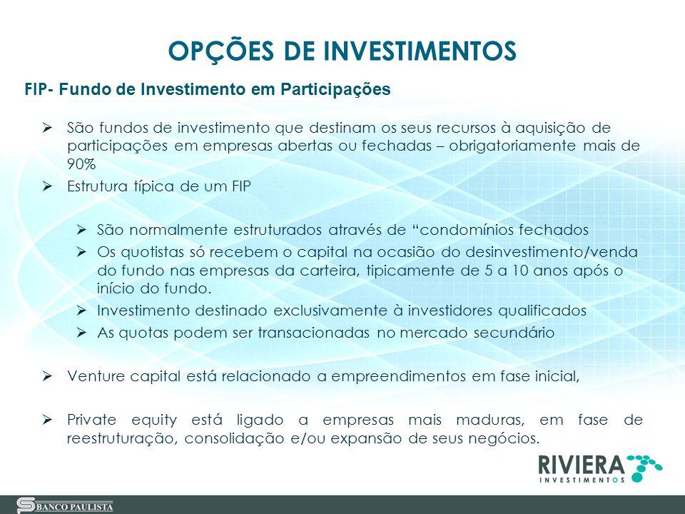31 FIP- Fundo de Investimento em Participações OPÇÕES DE INVESTIMENTOS  São fundos de investimento que destinam os seus recursos à aquisição de parti