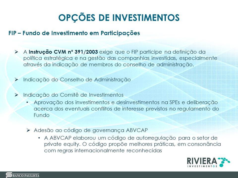 32 FIP – Fundo de Investimento em Participações OPÇÕES DE INVESTIMENTOS  A Instrução CVM nº 391/2003 exige que o FIP participe na definição da políti