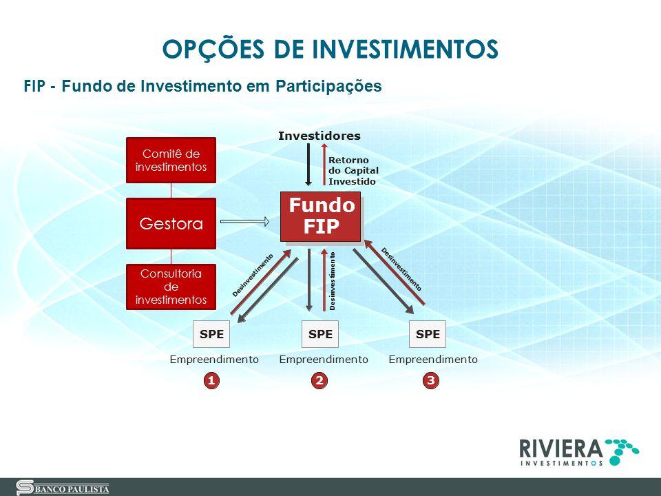 OPÇÕES DE INVESTIMENTOS FIP Empreendimento Fundo SPE Empreendimento 123 Investidores Retorno do Capital Investido D e s i n v e s t i m e n t o D e s