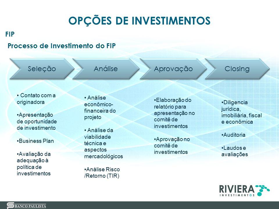 35 Processo de Investimento do FIP FIP OPÇÕES DE INVESTIMENTOS Seleção Análise Aprovação Closing Contato com a originadora Apresentação de oportunidad