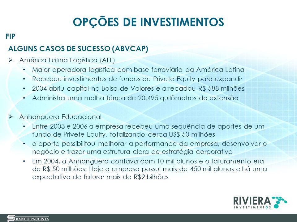 38 ALGUNS CASOS DE SUCESSO (ABVCAP)  América Latina Logística (ALL) Maior operadora logística com base ferroviária da América Latina Recebeu investim
