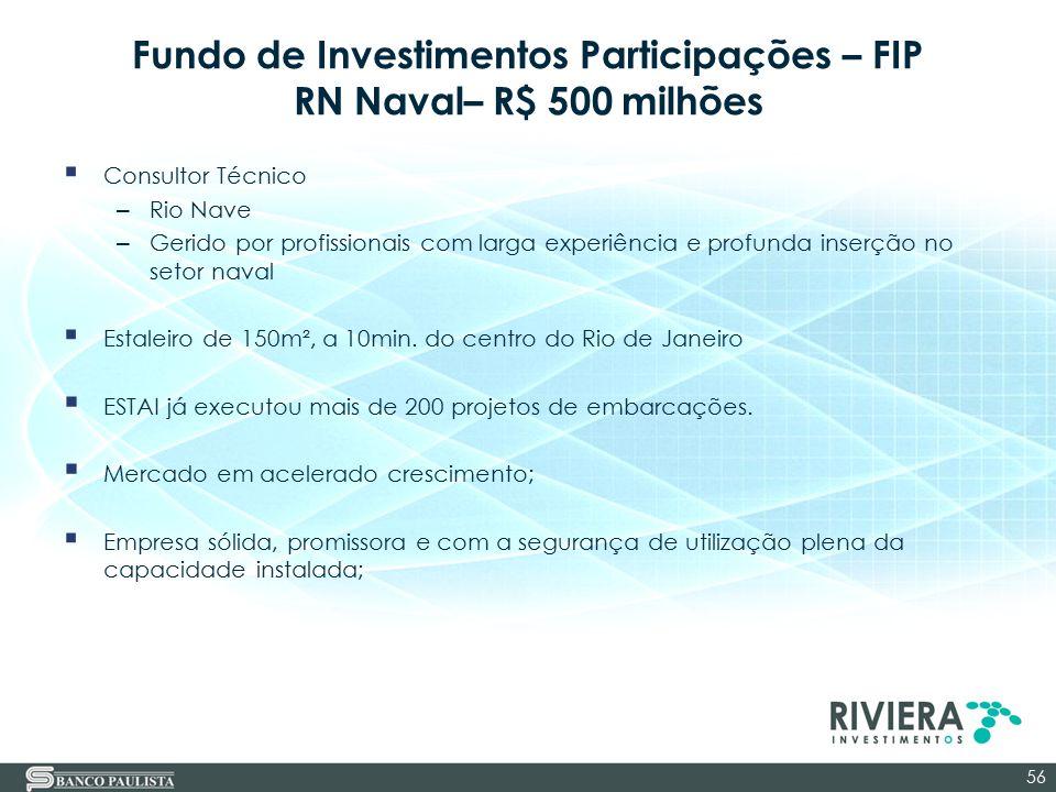 Fundo de Investimentos Participações – FIP RN Naval– R$ 500 milhões  Consultor Técnico – Rio Nave – Gerido por profissionais com larga experiência e