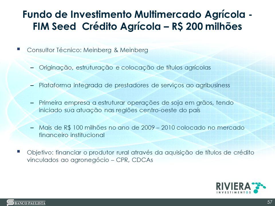 Fundo de Investimento Multimercado Agrícola - FIM Seed Crédito Agrícola – R$ 200 milhões  Consultor Técnico: Meinberg & Meinberg – Originação, estrut