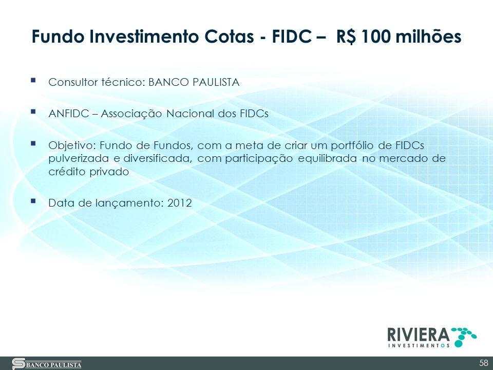 Fundo Investimento Cotas - FIDC – R$ 100 milhões  Consultor técnico: BANCO PAULISTA  ANFIDC – Associação Nacional dos FIDCs  Objetivo: Fundo de Fun