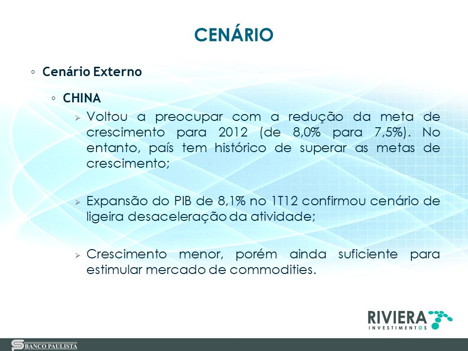 1 - CENÁRIO 2 - DESAFIOS DOS INVESTIDORES EM CENÁRIO DE TAXAS DE JUROS DECLINANTES 3 - DIVERSIFICAÇÃO DE INVESTIMENTOS 4 - DISTRIBUIÇÃO ATUAL DE INVESTIMENTOS 5 - OPÇÕES DE INVESTIMENTOS 6 - RIVIERA INVESTIMENTOS