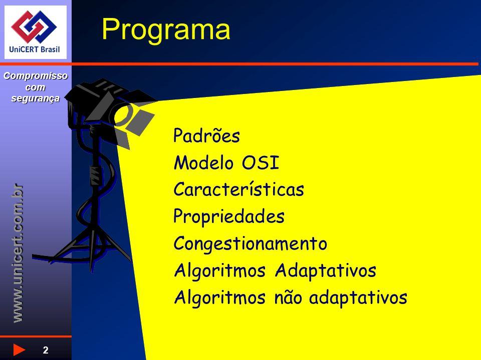 www.unicert.com.br Compromisso com segurança 2 Programa Padrões Modelo OSI Características Propriedades Congestionamento Algoritmos Adaptativos Algoritmos não adaptativos