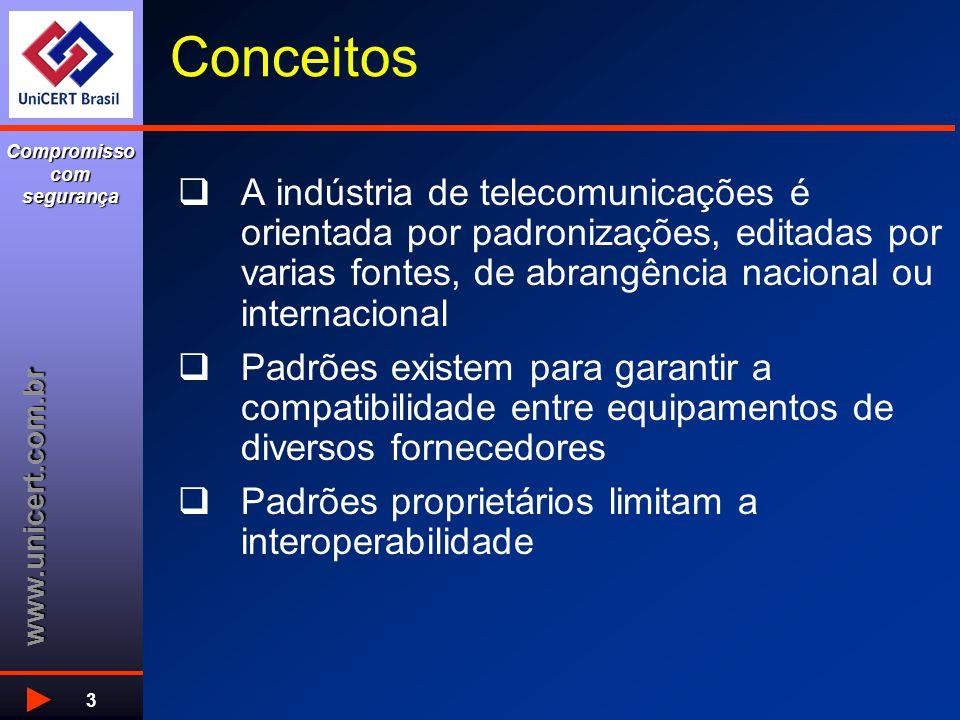 www.unicert.com.br Compromisso com segurança 3  A indústria de telecomunicações é orientada por padronizações, editadas por varias fontes, de abrangê