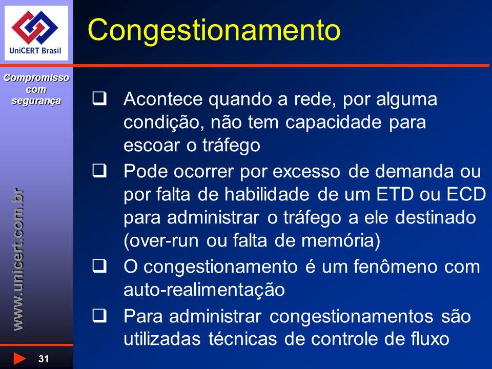 www.unicert.com.br Compromisso com segurança 31 Congestionamento  Acontece quando a rede, por alguma condição, não tem capacidade para escoar o tráfego  Pode ocorrer por excesso de demanda ou por falta de habilidade de um ETD ou ECD para administrar o tráfego a ele destinado (over-run ou falta de memória)  O congestionamento é um fenômeno com auto-realimentação  Para administrar congestionamentos são utilizadas técnicas de controle de fluxo