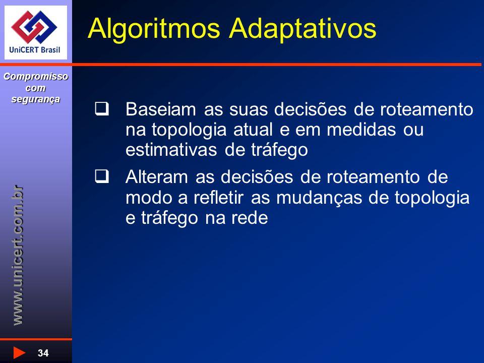 www.unicert.com.br Compromisso com segurança 34 Algoritmos Adaptativos  Baseiam as suas decisões de roteamento na topologia atual e em medidas ou estimativas de tráfego  Alteram as decisões de roteamento de modo a refletir as mudanças de topologia e tráfego na rede