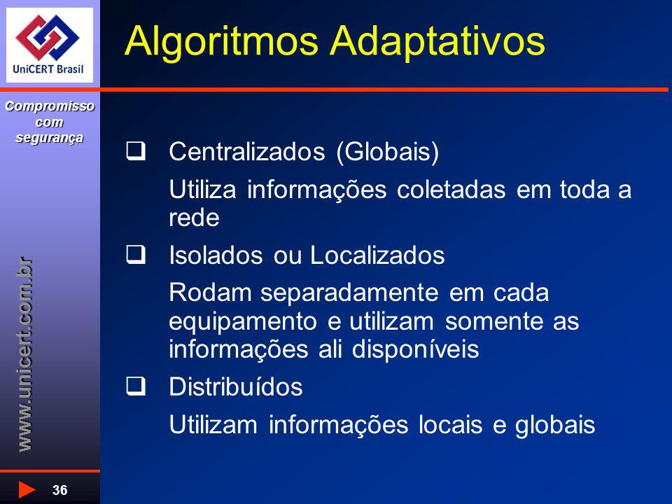 www.unicert.com.br Compromisso com segurança 36 Algoritmos Adaptativos  Centralizados (Globais) Utiliza informações coletadas em toda a rede  Isolad