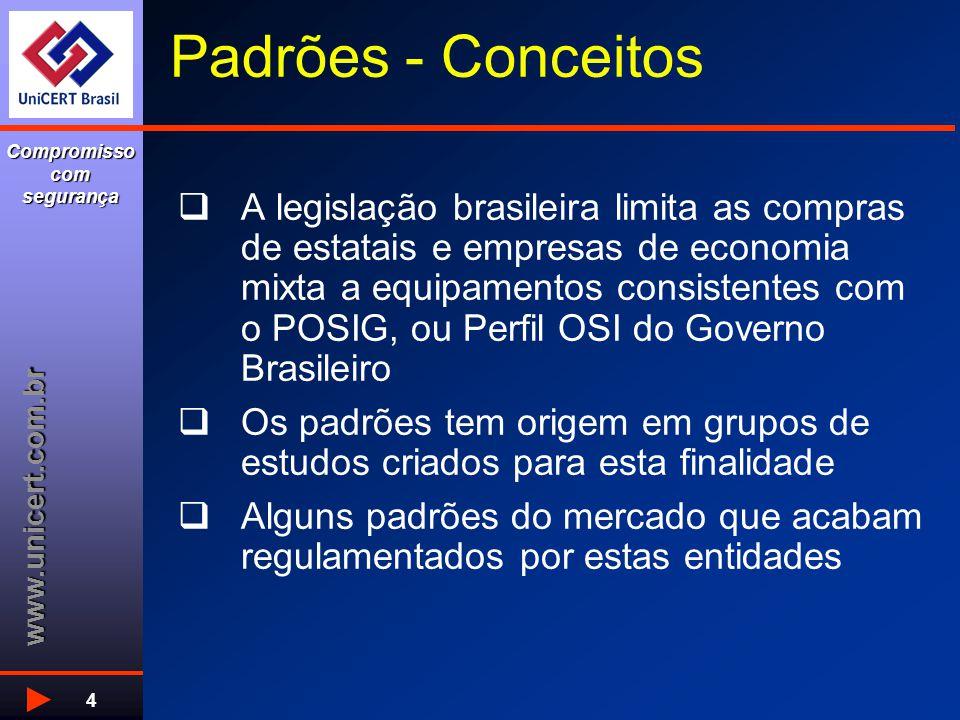 www.unicert.com.br Compromisso com segurança 4 Padrões - Conceitos  A legislação brasileira limita as compras de estatais e empresas de economia mixt