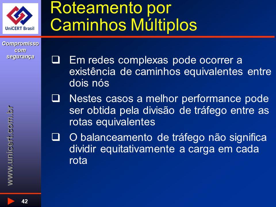 www.unicert.com.br Compromisso com segurança 42 Roteamento por Caminhos Múltiplos  Em redes complexas pode ocorrer a existência de caminhos equivalen