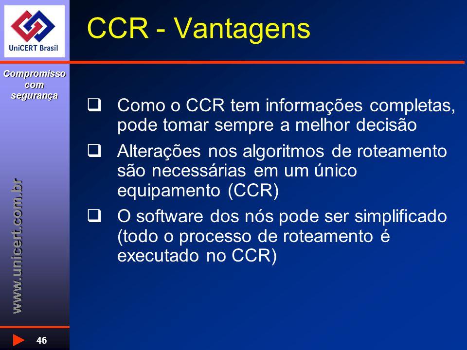 www.unicert.com.br Compromisso com segurança 46 CCR - Vantagens  Como o CCR tem informações completas, pode tomar sempre a melhor decisão  Alterações nos algoritmos de roteamento são necessárias em um único equipamento (CCR)  O software dos nós pode ser simplificado (todo o processo de roteamento é executado no CCR)