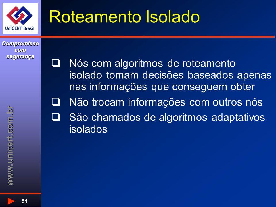 www.unicert.com.br Compromisso com segurança 51 Roteamento Isolado  Nós com algoritmos de roteamento isolado tomam decisões baseados apenas nas infor