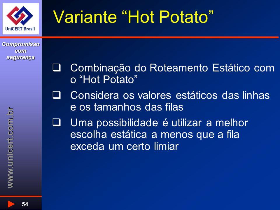 www.unicert.com.br Compromisso com segurança 54 Variante Hot Potato  Combinação do Roteamento Estático com o Hot Potato  Considera os valores estáticos das linhas e os tamanhos das filas  Uma possibilidade é utilizar a melhor escolha estática a menos que a fila exceda um certo limiar