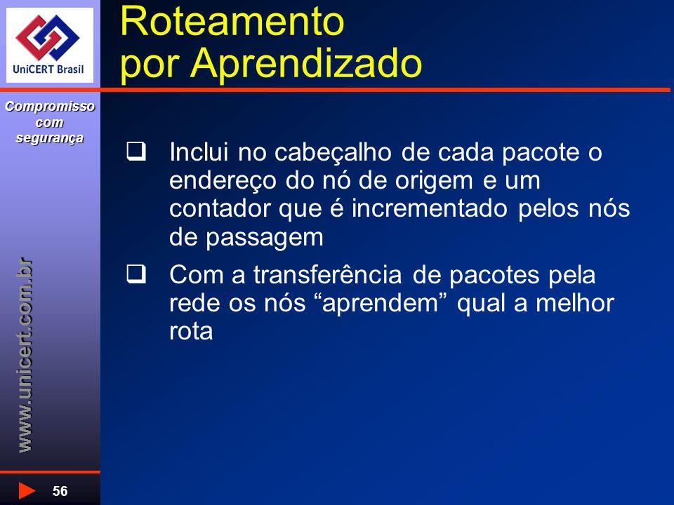 www.unicert.com.br Compromisso com segurança 56 Roteamento por Aprendizado  Inclui no cabeçalho de cada pacote o endereço do nó de origem e um contad