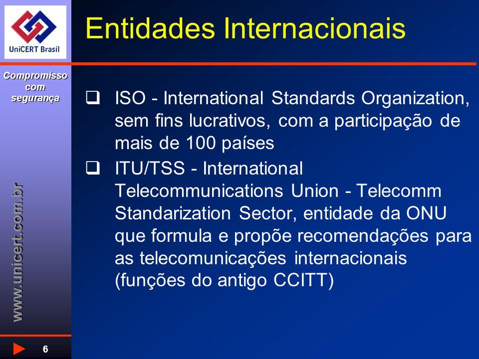 www.unicert.com.br Compromisso com segurança 6 Entidades Internacionais  ISO - International Standards Organization, sem fins lucrativos, com a parti