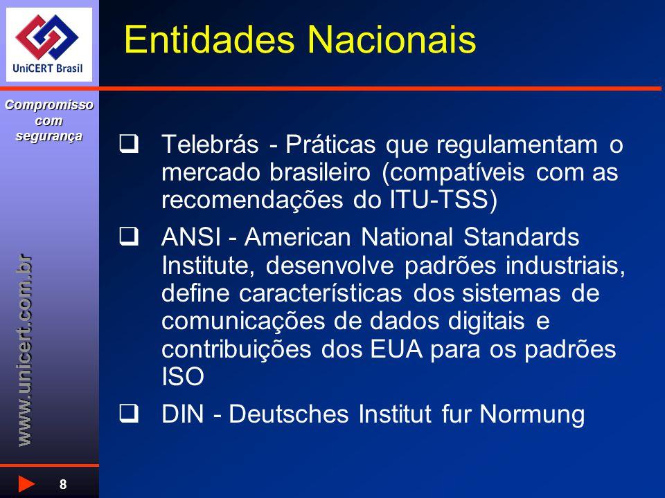 www.unicert.com.br Compromisso com segurança 8 Entidades Nacionais  Telebrás - Práticas que regulamentam o mercado brasileiro (compatíveis com as recomendações do ITU-TSS)  ANSI - American National Standards Institute, desenvolve padrões industriais, define características dos sistemas de comunicações de dados digitais e contribuições dos EUA para os padrões ISO  DIN - Deutsches Institut fur Normung