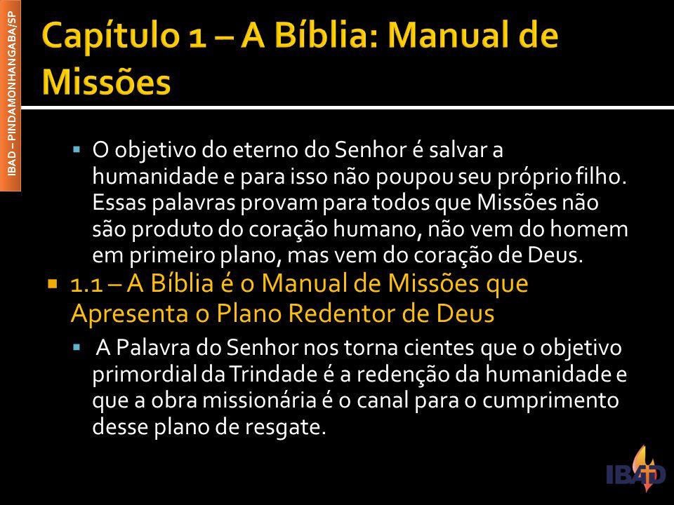 IBAD – PINDAMONHANGABA/SP  O objetivo do eterno do Senhor é salvar a humanidade e para isso não poupou seu próprio filho.