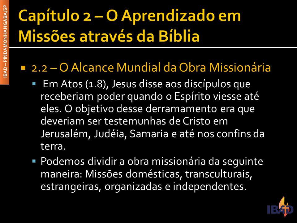 IBAD – PINDAMONHANGABA/SP  2.2 – O Alcance Mundial da Obra Missionária  Em Atos (1.8), Jesus disse aos discípulos que receberiam poder quando o Espírito viesse até eles.