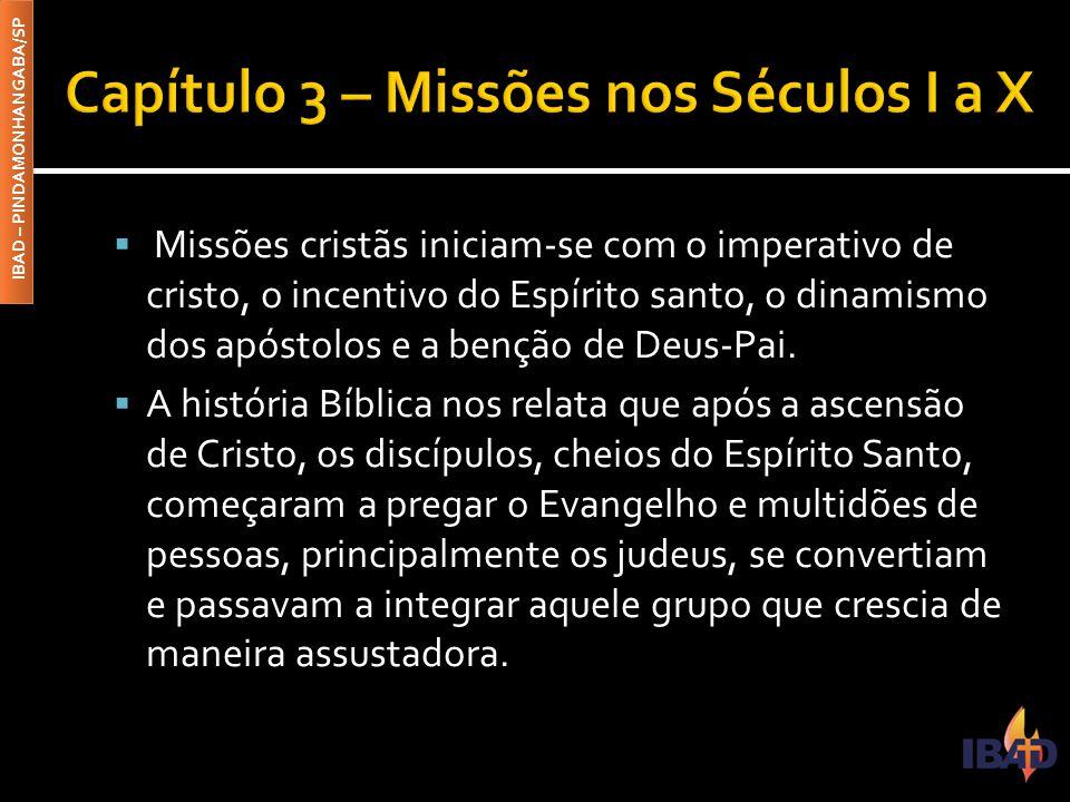IBAD – PINDAMONHANGABA/SP  Missões cristãs iniciam-se com o imperativo de cristo, o incentivo do Espírito santo, o dinamismo dos apóstolos e a benção de Deus-Pai.