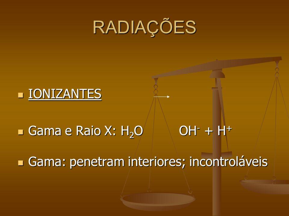 RADIAÇÕES IONIZANTES IONIZANTES Gama e Raio X: H 2 O OH - + H + Gama e Raio X: H 2 O OH - + H + Gama: penetram interiores; incontroláveis Gama: penetram interiores; incontroláveis