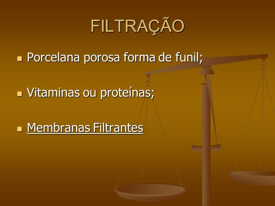 FILTRAÇÃO Porcelana porosa forma de funil; Porcelana porosa forma de funil; Vitaminas ou proteínas; Vitaminas ou proteínas; Membranas Filtrantes Membranas Filtrantes