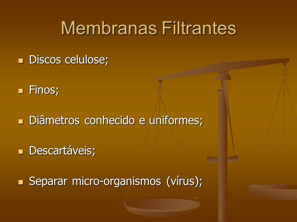 Membranas Filtrantes Discos celulose; Discos celulose; Finos; Finos; Diâmetros conhecido e uniformes; Diâmetros conhecido e uniformes; Descartáveis; Descartáveis; Separar micro-organismos (vírus); Separar micro-organismos (vírus);