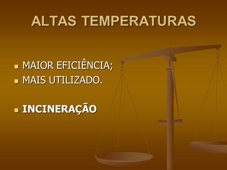 ALTAS TEMPERATURAS MAIOR EFICIÊNCIA; MAIOR EFICIÊNCIA; MAIS UTILIZADO.