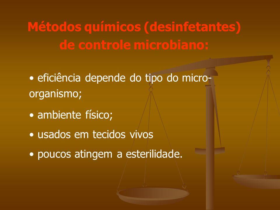 Métodos químicos (desinfetantes) de controle microbiano: eficiência depende do tipo do micro- organismo; ambiente físico; usados em tecidos vivos poucos atingem a esterilidade.