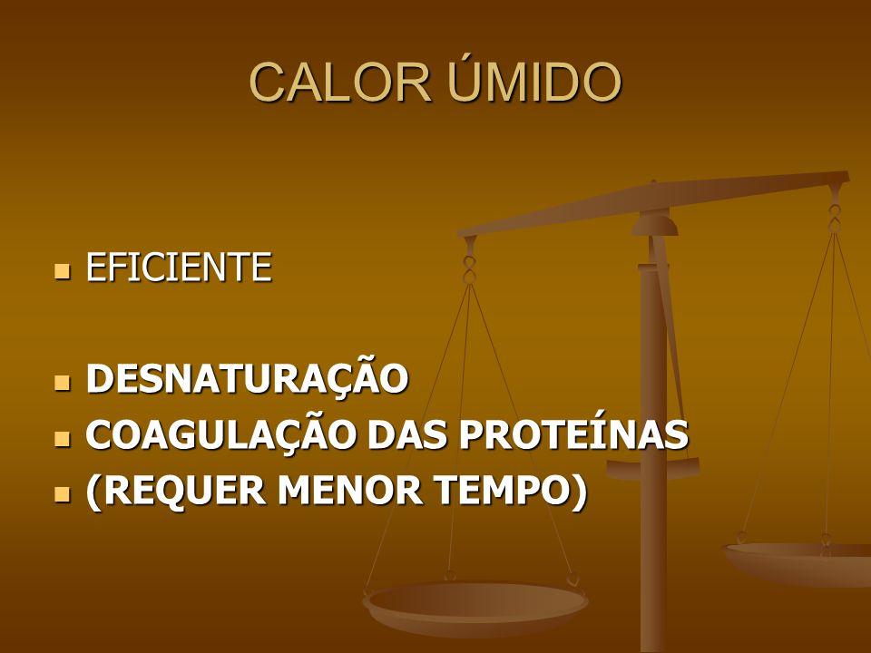 CALOR ÚMIDO EFICIENTE EFICIENTE DESNATURAÇÃO DESNATURAÇÃO COAGULAÇÃO DAS PROTEÍNAS COAGULAÇÃO DAS PROTEÍNAS (REQUER MENOR TEMPO) (REQUER MENOR TEMPO)