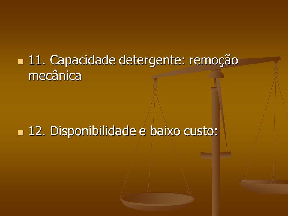 11.Capacidade detergente: remoção mecânica 11. Capacidade detergente: remoção mecânica 12.