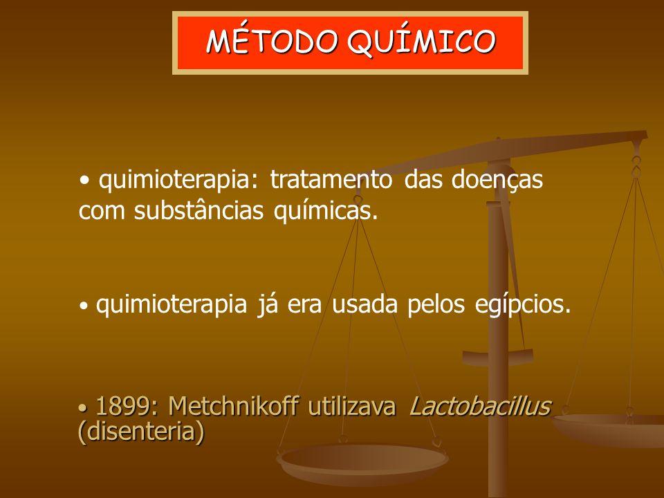 1899: Metchnikoff utilizava Lactobacillus (disenteria) 1899: Metchnikoff utilizava Lactobacillus (disenteria) MÉTODO QUÍMICO quimioterapia: tratamento das doenças com substâncias químicas.