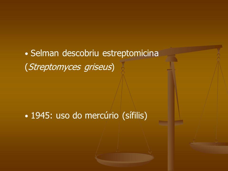 1945: uso do mercúrio (sífilis) Selman descobriu estreptomicina (Streptomyces griseus)
