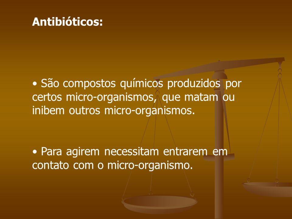 Antibióticos: São compostos químicos produzidos por certos micro-organismos, que matam ou inibem outros micro-organismos.