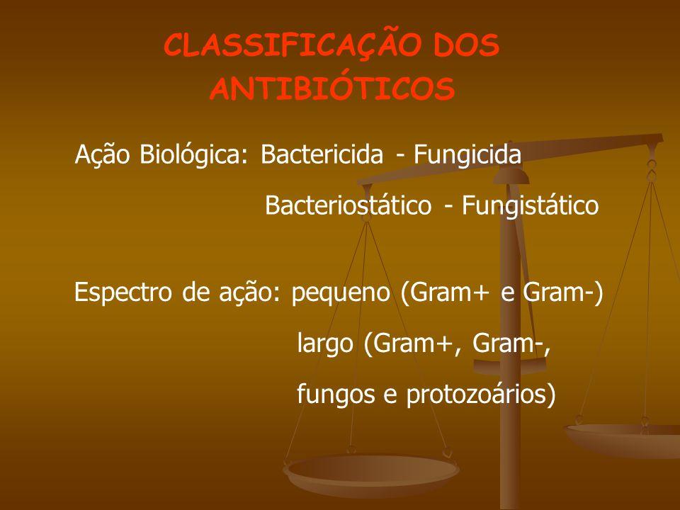 CLASSIFICAÇÃO DOS ANTIBIÓTICOS Ação Biológica: Bactericida - Fungicida Bacteriostático - Fungistático Espectro de ação: pequeno (Gram+ e Gram-) largo (Gram+, Gram-, fungos e protozoários)