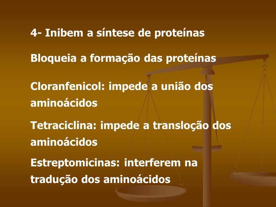 4- Inibem a síntese de proteínas Bloqueia a formação das proteínas Cloranfenicol: impede a união dos aminoácidos Tetraciclina: impede a transloção dos aminoácidos Estreptomicinas: interferem na tradução dos aminoácidos