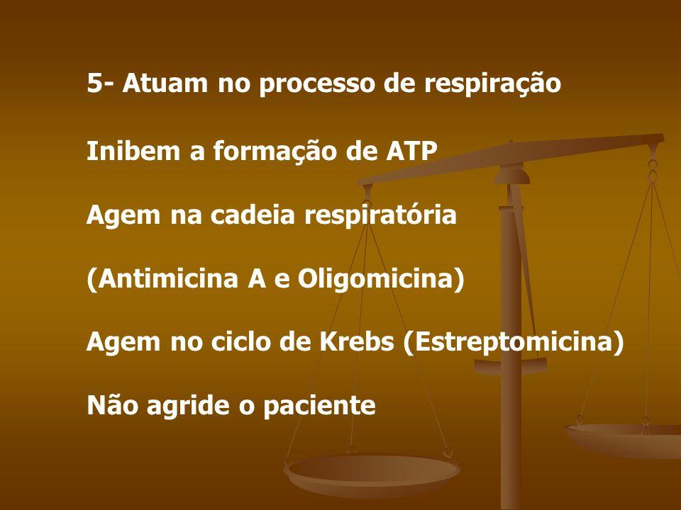 5- Atuam no processo de respiração Inibem a formação de ATP Agem na cadeia respiratória (Antimicina A e Oligomicina) Agem no ciclo de Krebs (Estreptomicina) Não agride o paciente