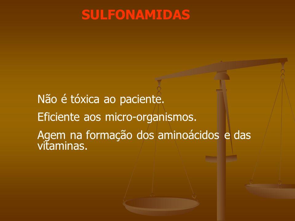 SULFONAMIDAS Não é tóxica ao paciente.Eficiente aos micro-organismos.