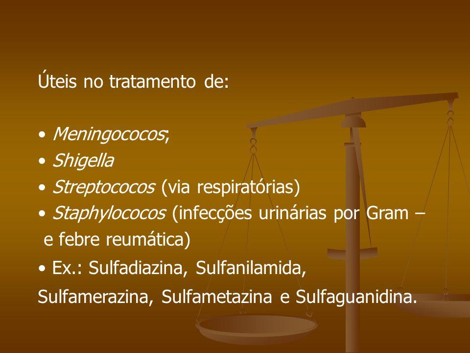Úteis no tratamento de: Meningococos; Shigella Streptococos (via respiratórias) Staphylococos (infecções urinárias por Gram – e febre reumática) Ex.: Sulfadiazina, Sulfanilamida, Sulfamerazina, Sulfametazina e Sulfaguanidina.
