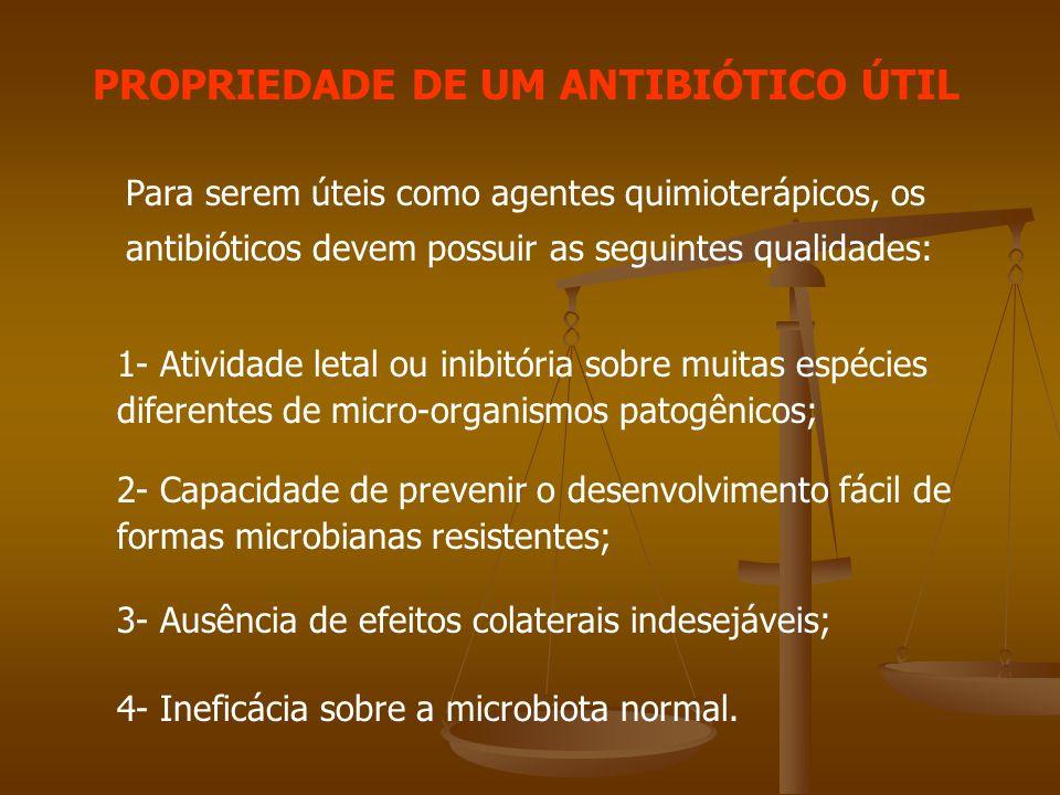 PROPRIEDADE DE UM ANTIBIÓTICO ÚTIL Para serem úteis como agentes quimioterápicos, os antibióticos devem possuir as seguintes qualidades: 1- Atividade letal ou inibitória sobre muitas espécies diferentes de micro-organismos patogênicos; 2- Capacidade de prevenir o desenvolvimento fácil de formas microbianas resistentes; 3- Ausência de efeitos colaterais indesejáveis; 4- Ineficácia sobre a microbiota normal.